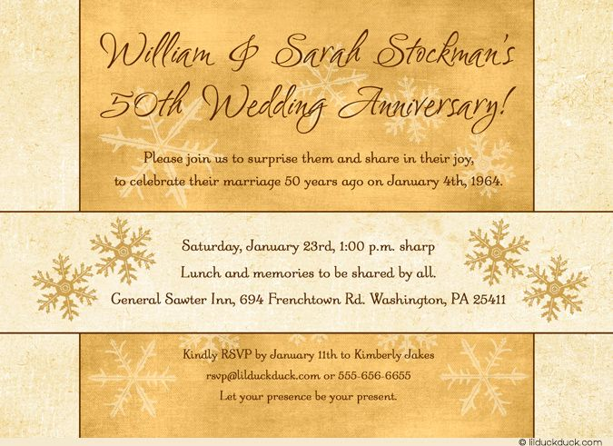 Surprise Wedding Anniversary Invitations: Surprise Winter Anniversary Invitation