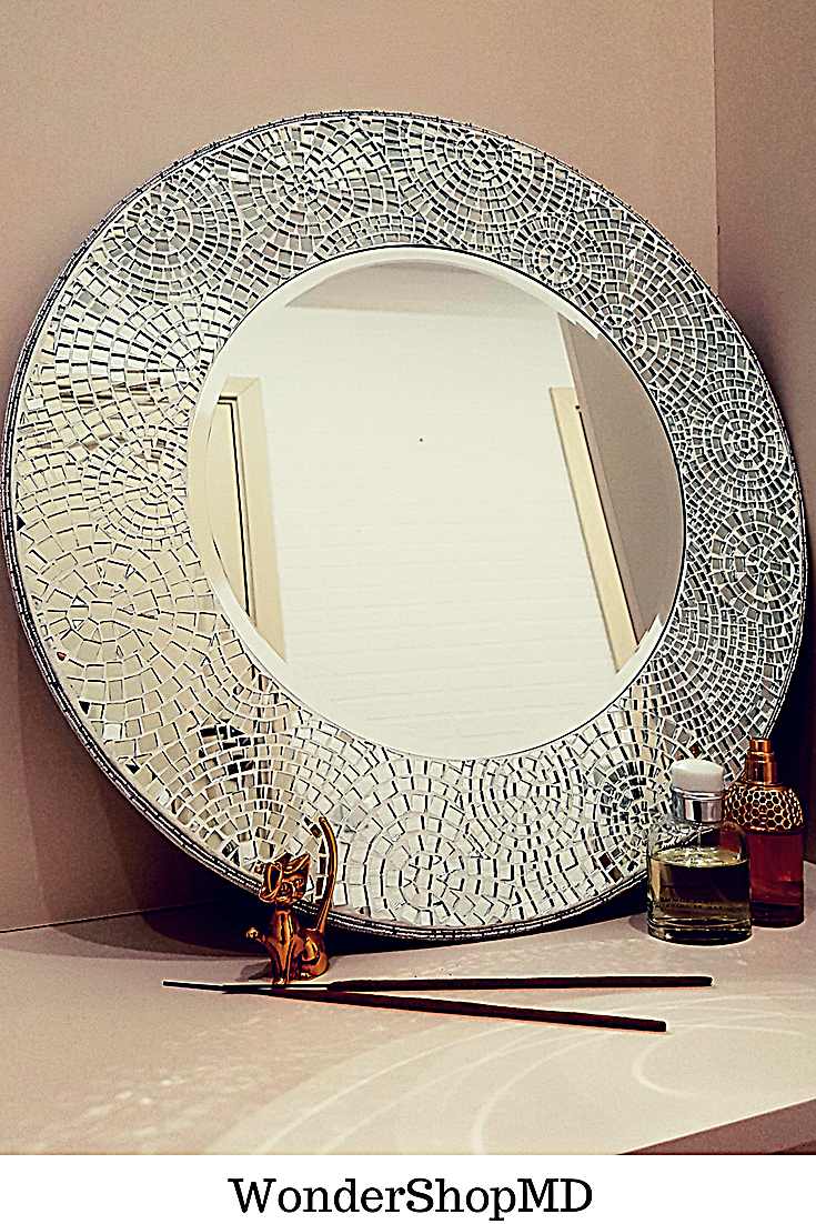 Mirror Wall Decor 22 Mosaic Mirror Wall Decorative Mirror Wall Art Vanity Mirror Round Mosaic Mirror Made To Order In 2020 Mirror Wall Art Mirror Decor Mosaic Mirror
