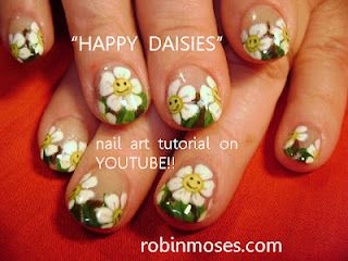 SMILING HAPPY DAISIES NAIL ART!!!  www.youtube.com/watch?v=WVQ9KnOa86E