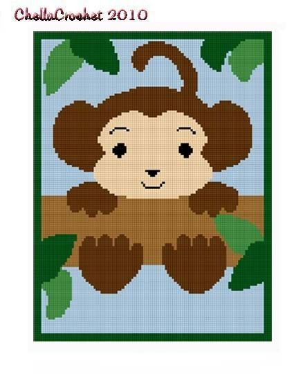 INSTANT DOWNLOAD Chella Crochet .PDF Baby Monkey In Tree Afghan ...