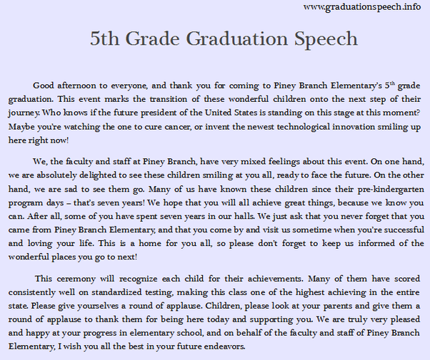 8th grade graduation speech ideas