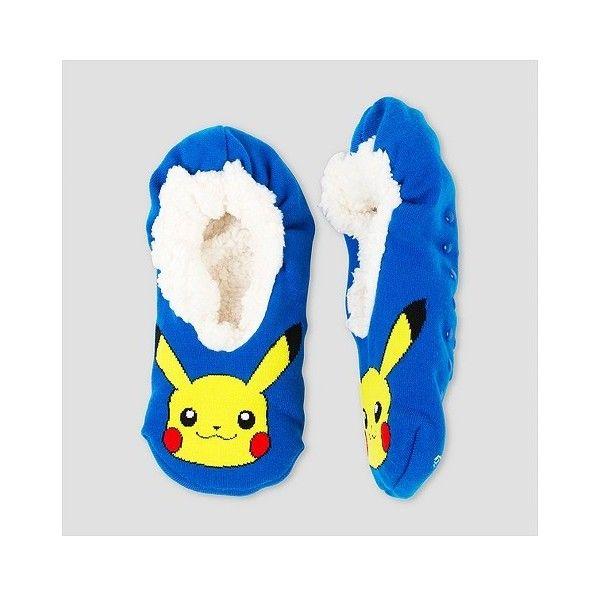 Women's 1-pk Pokemon FuzzSox /, Blue ($8.99) ❤ liked on Polyvore featuring intimates, hosiery, socks, blue, patterned socks, patterned hosiery, blue socks and print socks