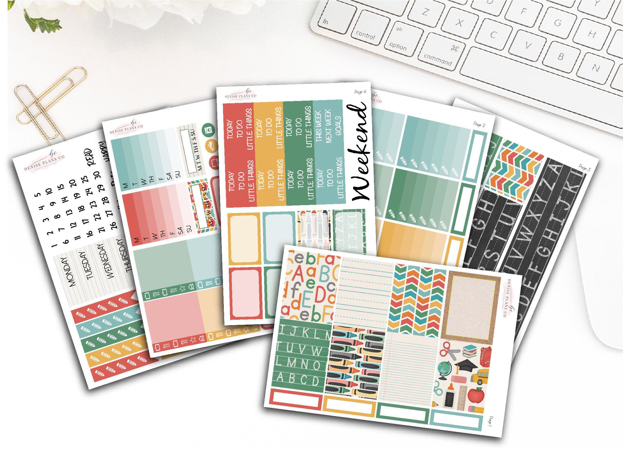 Bright Pastel Weekly Planner Kit For Horizontal Erin Condren Life Planners
