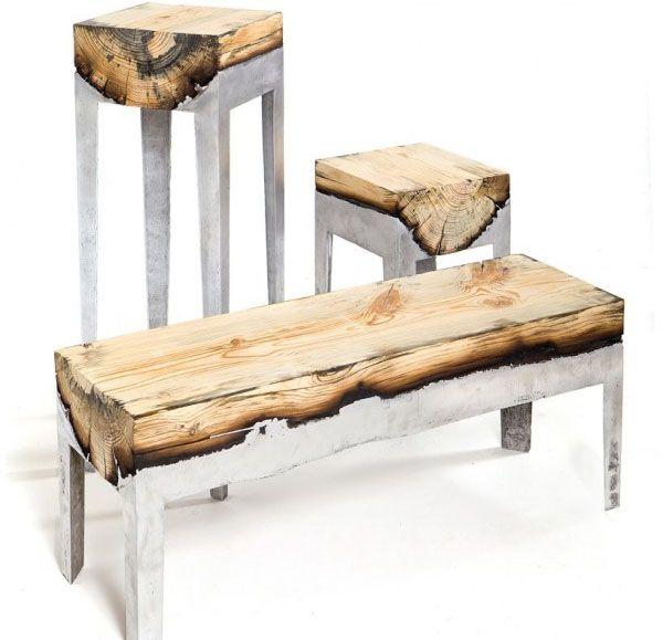 Holz Und Stahl Couchtisch Schmiedeeisen Couchtisch Slate