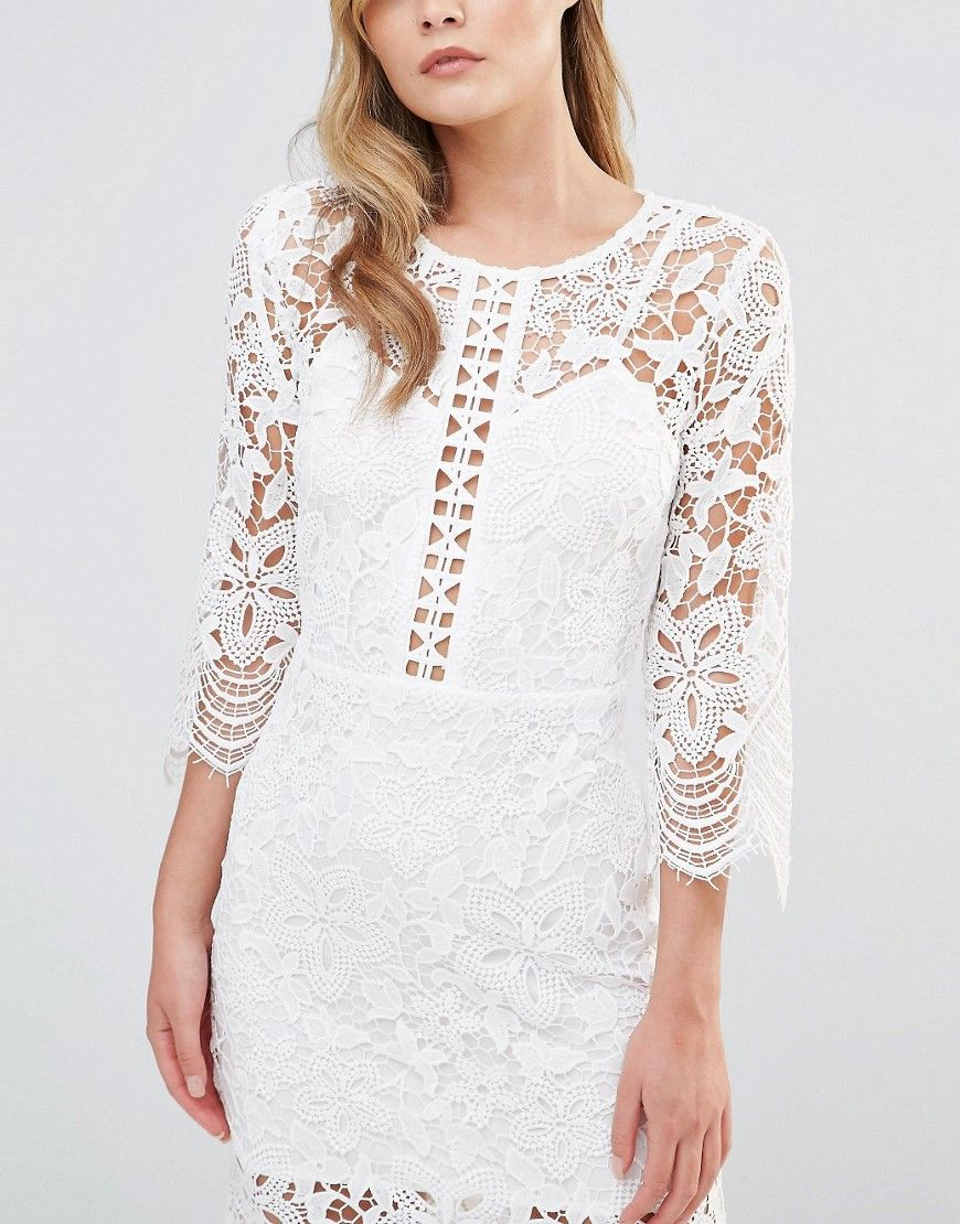 Dark Pink Midi Lace Dress with Laddering Detail