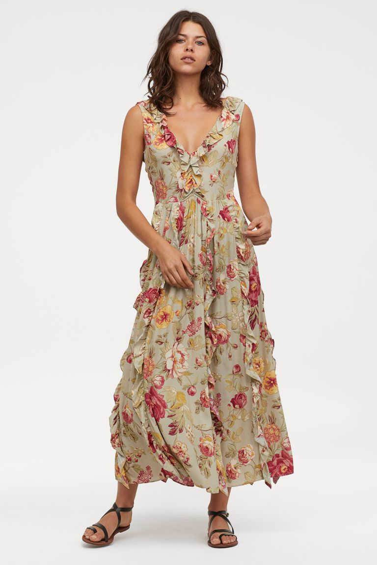 V Neck Flounced Dress Light Dusky Green Floral Ladies H M Gb Ankle Length Dress V Neck Dress Model Dress