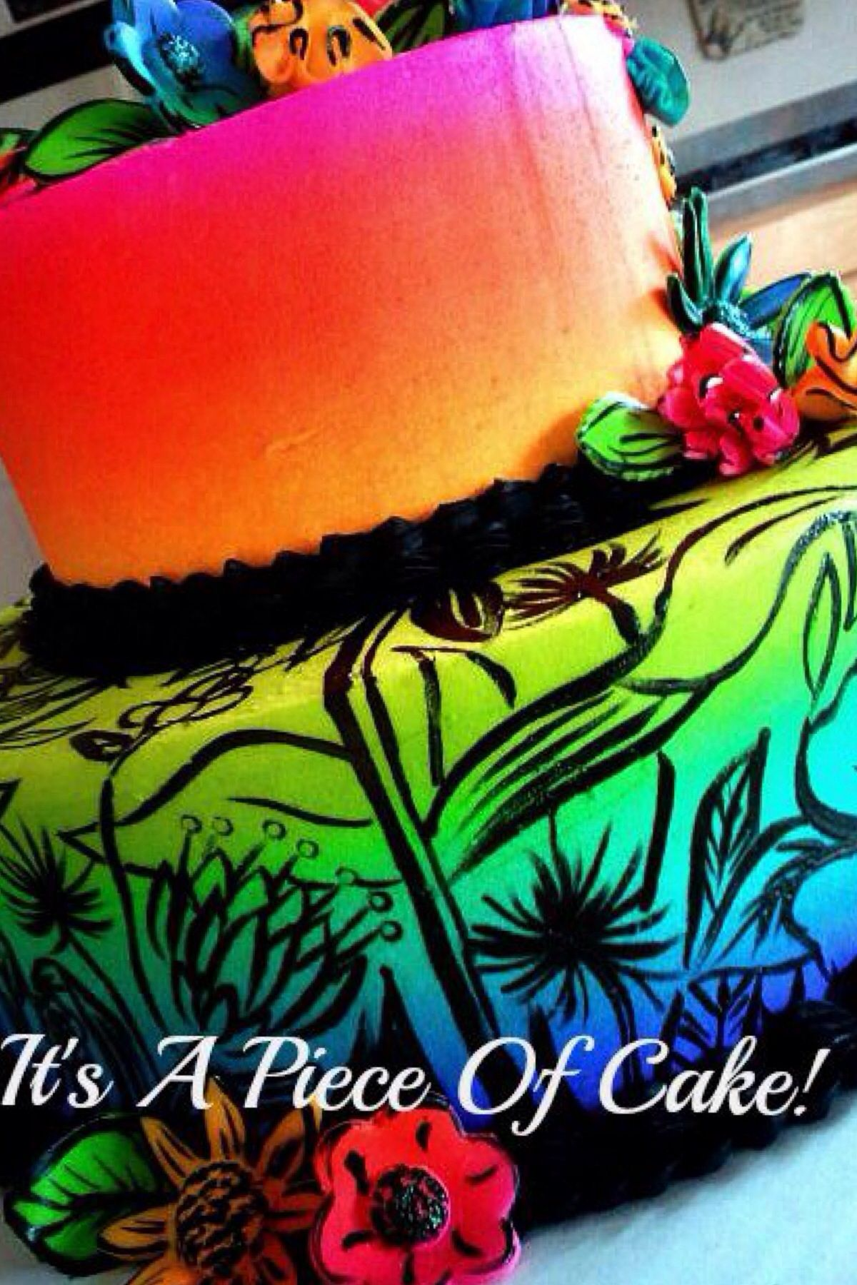 Neon colored cake Bday party Pinterest Color cake Cake and