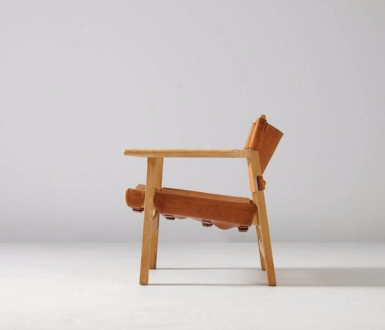 børge mogensen spanish chair in solid oak and cognac leather