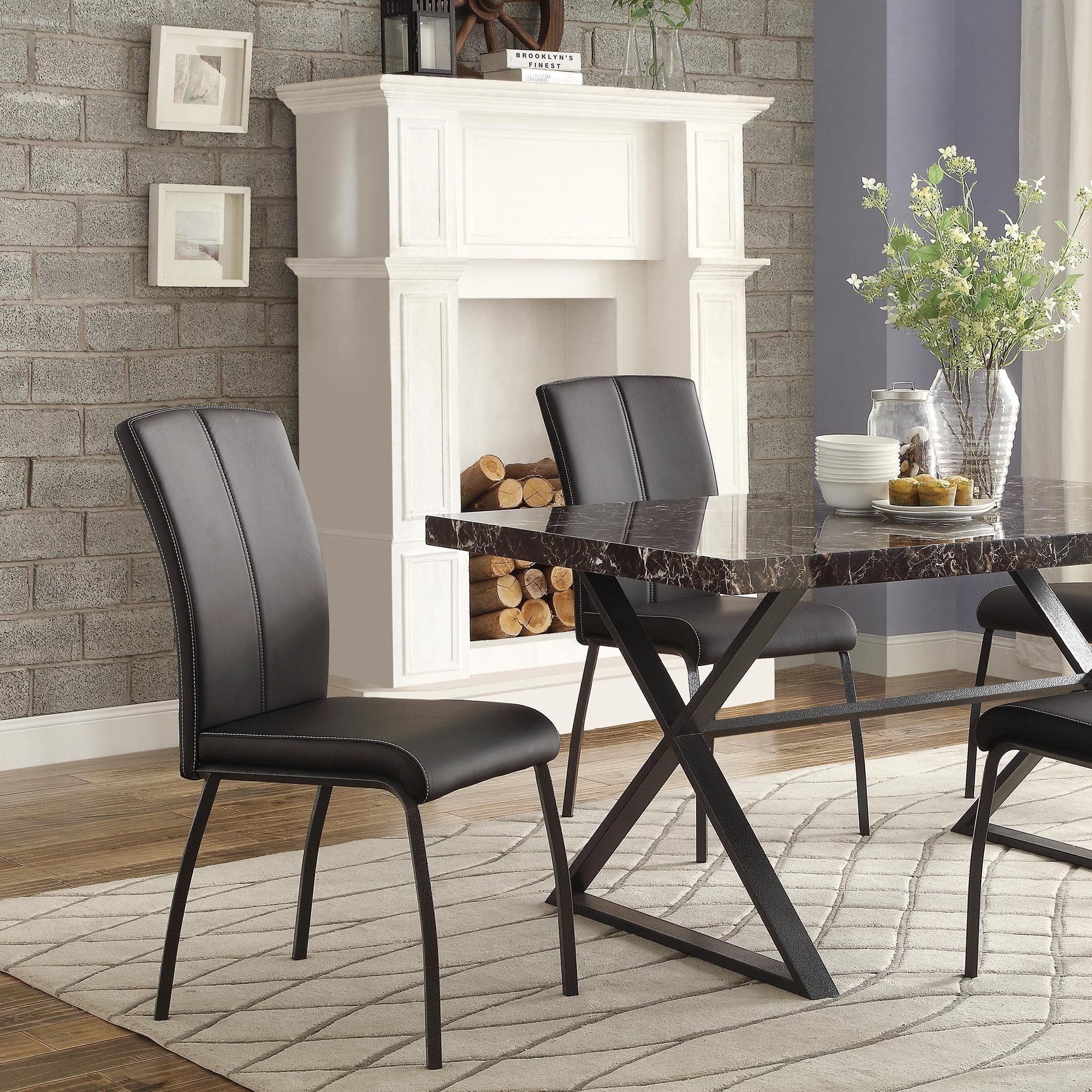 Danbury Metal Contoured Upholstered Dining Chair (Set of 2) - Overstock  Shopping -