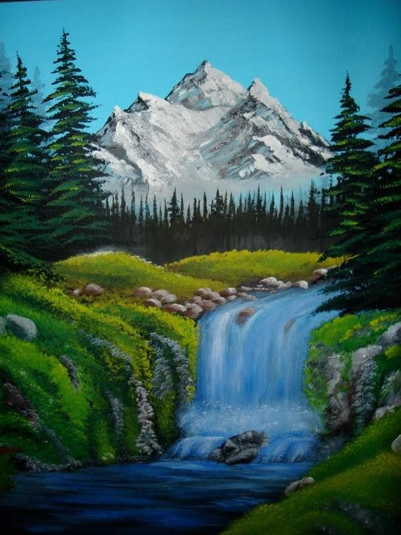Mountains Waterfall Trees Bob Ross Paintings Scenery Paintings Landscape Paintings