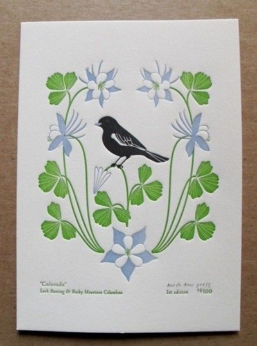 colorado state bird and flower letterpress