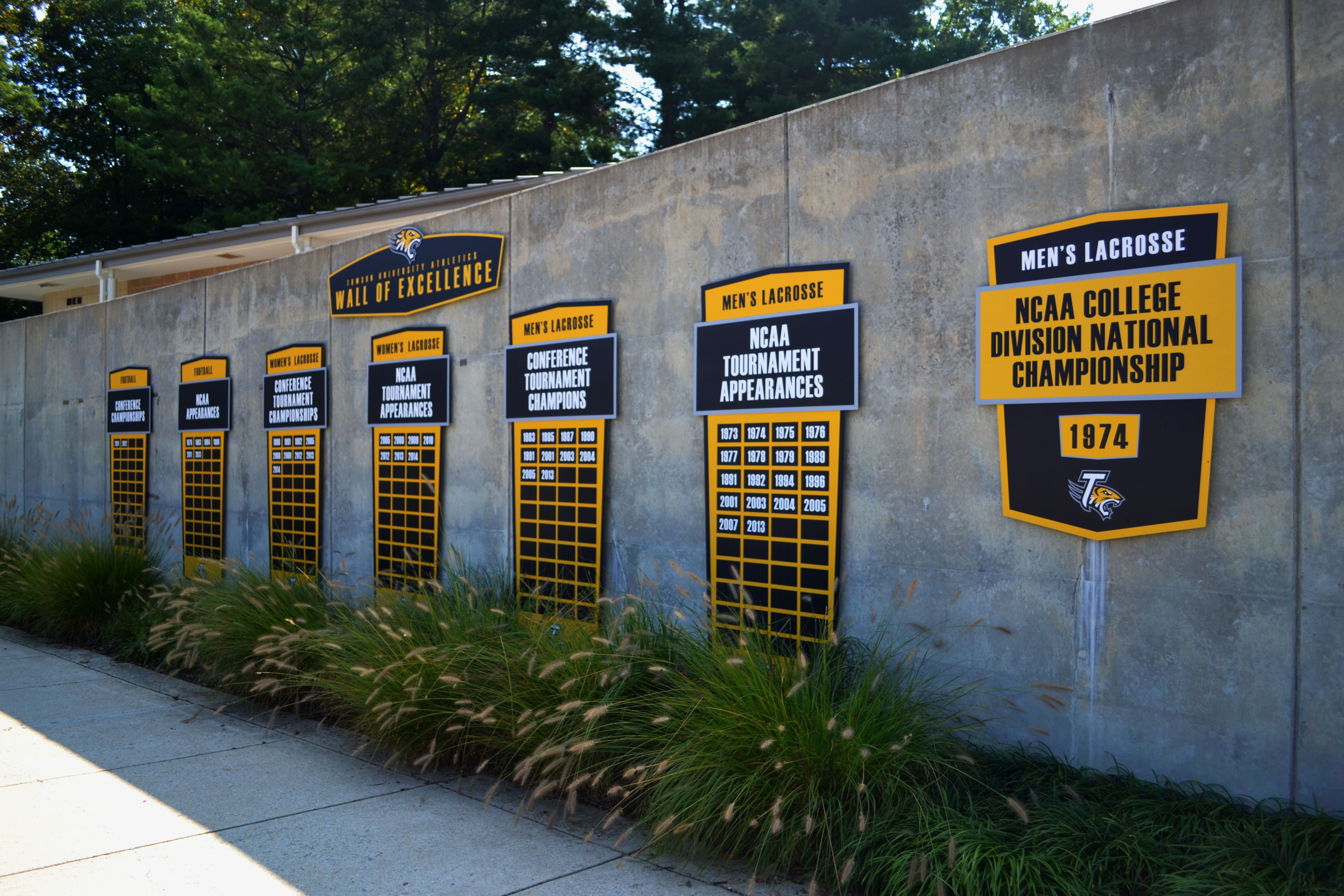 A recent project for Towson University included this Wall of Excellence to honor achievements in football and men's and women's lacrosse. Go Tigers!