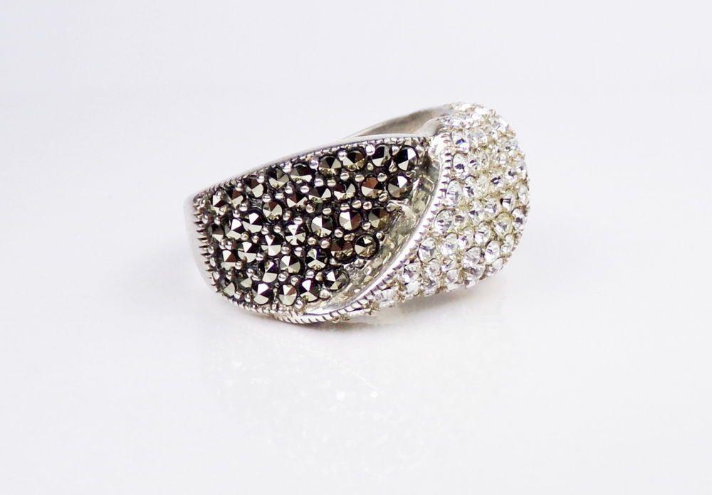 Deco Style Sterling Silver Ring Marcasite CZ Designer Suspicion 925 Band #Suspicion #Cocktail