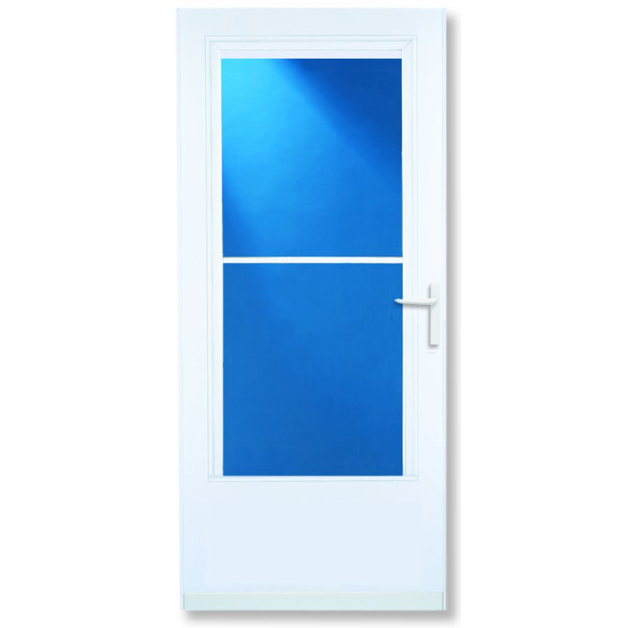 Larson Concord White Mid View Tempered Glass Wood Core Retractable