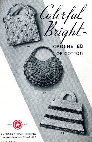 Three Free Vintage Purse Patterns Crochet Purses Vintage Crochet Crochet Purse Patterns
