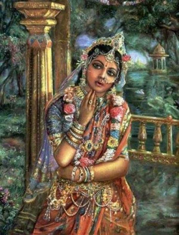tapta-kancana-gaurangi radhe vrndavanesvari vrsabhanu-sute devi pranamami hari-priye  I offer my respects to Radharani whose bodily complexion is like molten gold and who is the Queen of Vrndavana. You are the daughter of King Vrsabhanu, and You are very dear to Lord Krsna.