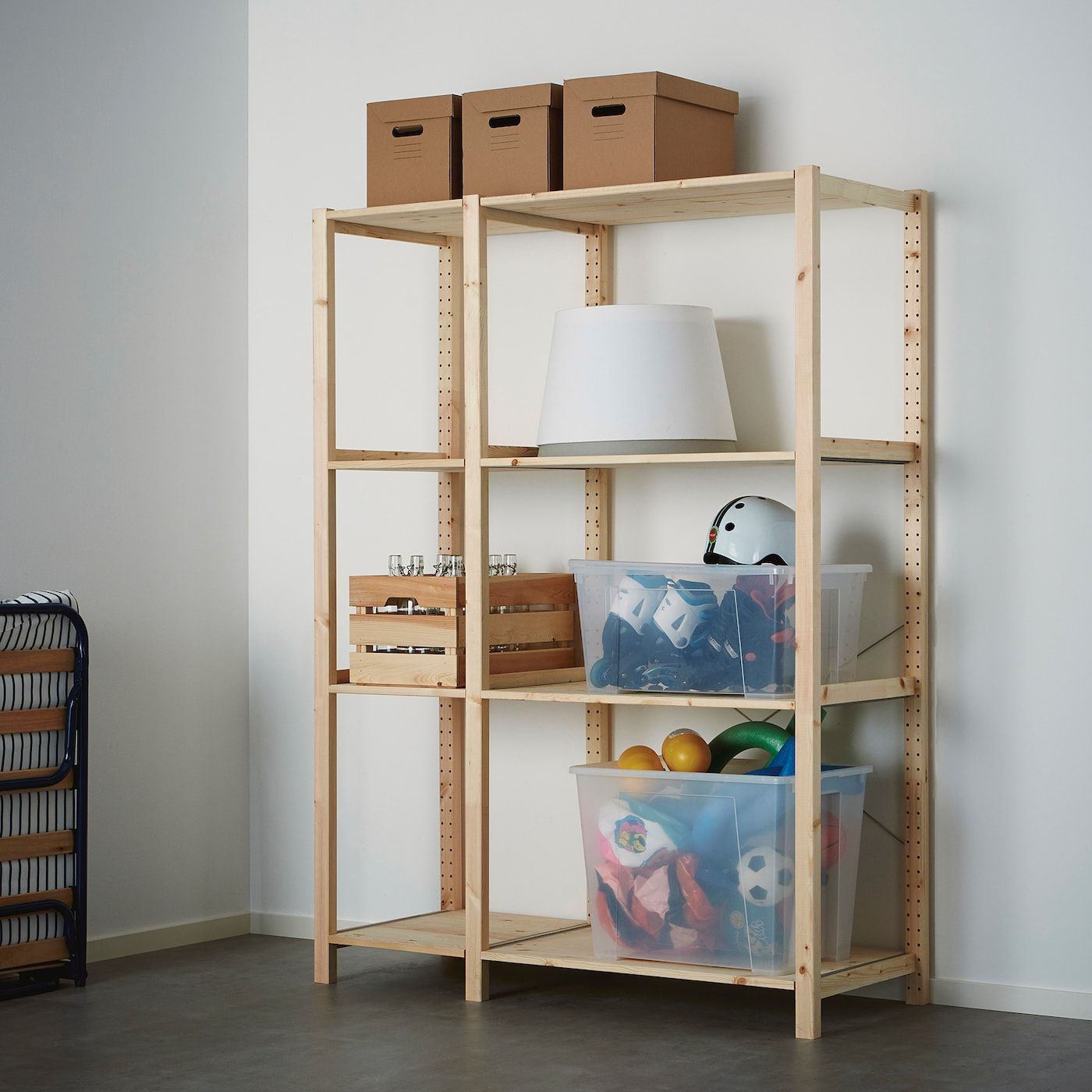 Ikea Ivar Pine 2 Section Shelving Unit In 2020 Shelves Ikea Shelf Unit Ikea
