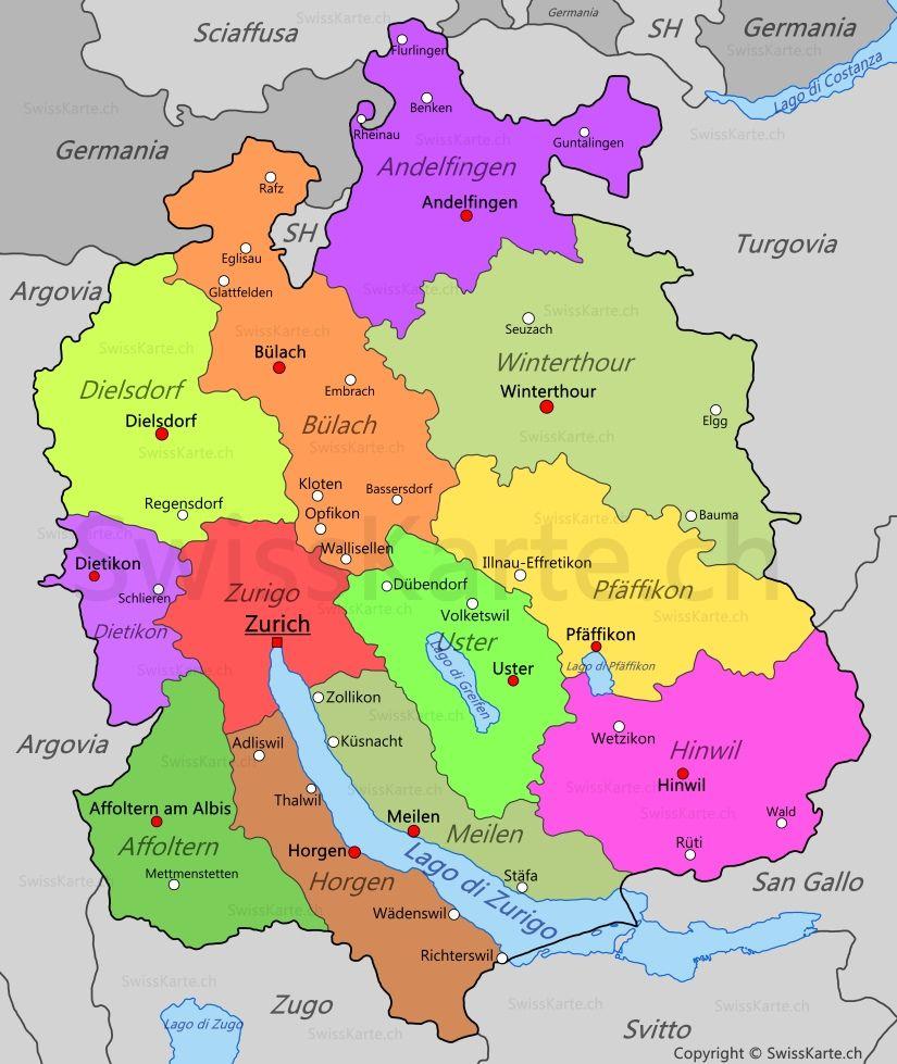 Mappa di Canton Zurigo map karte carte mappa Pinterest