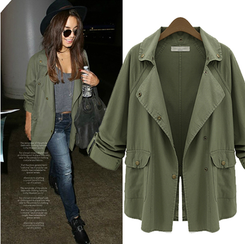 A boxy cut military green parka jacket. As seen on Vanessa Hudgens ...