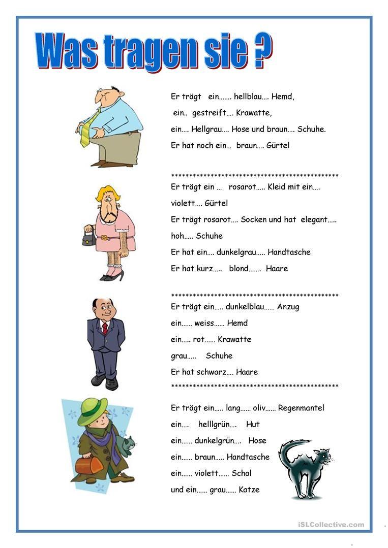 was tragen sie ? | deutsch lernen, adjektive, lernen