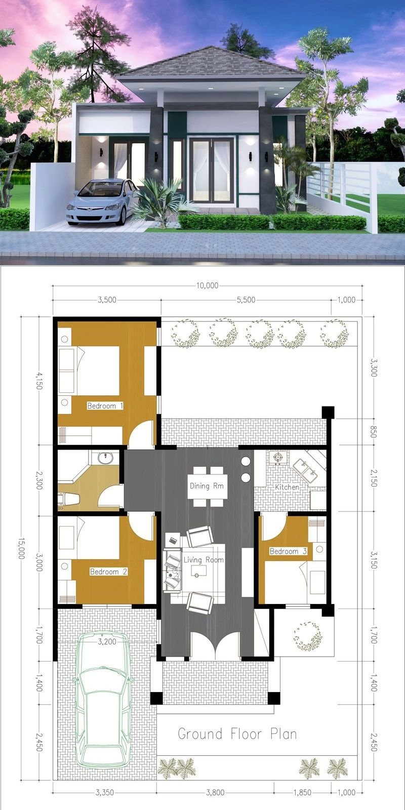 One Side Firewall 3 Bedroom House Plan Minimal House Design House Construction Plan Bungalow House Design