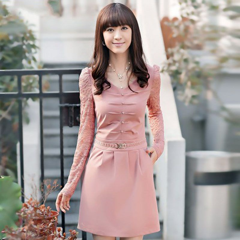 Manga larga de primavera 2014 Coreano de la mujer encaje cintura ...
