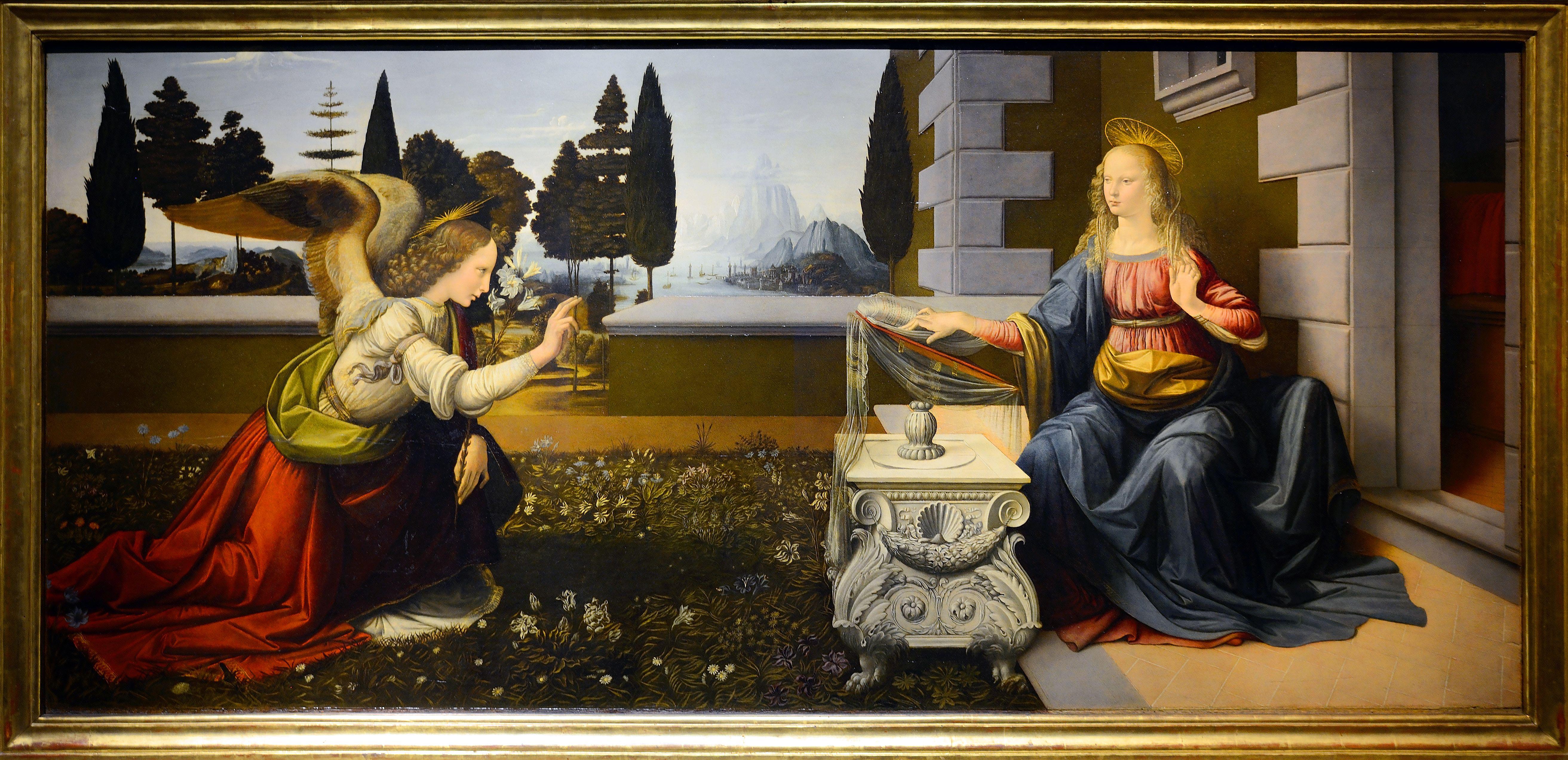 L'Annonciation (Léonard de Vinci | Leonard de vinci, De vinci, Leonardo de vinci