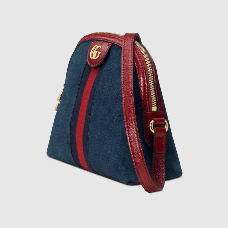 85aa33a0b Compra ahora Bolso de Hombro Ophidia Pequeño de Gucci. En ante azul con  incrustación de