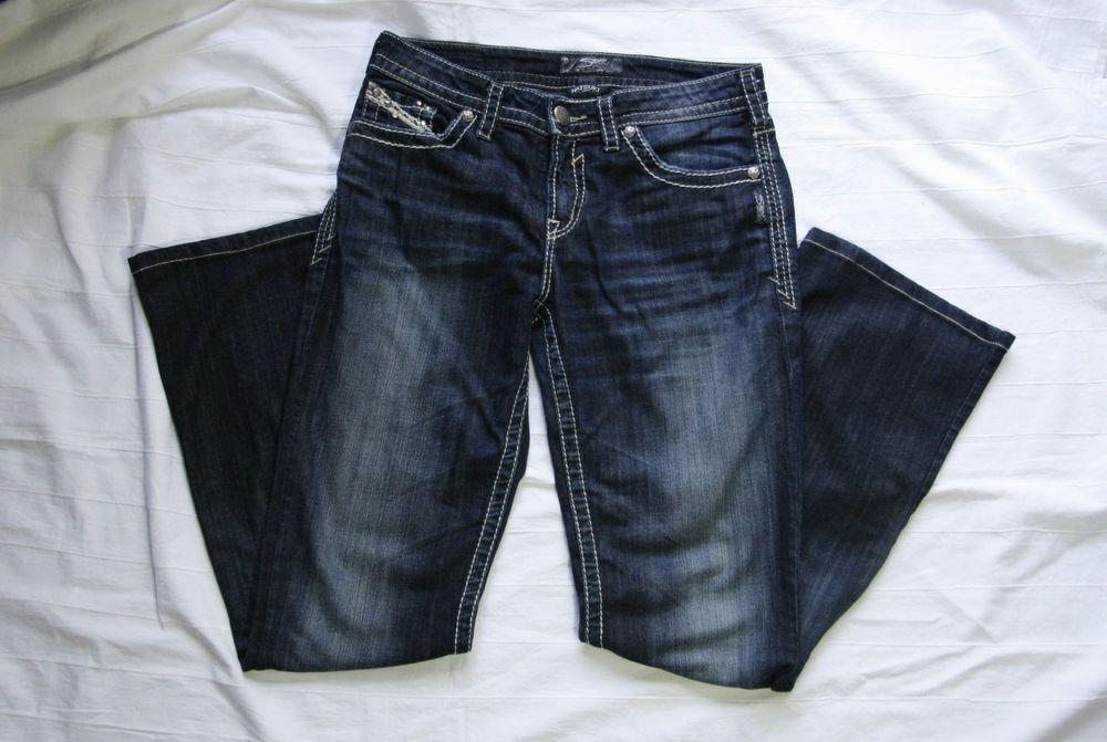 Natsuki Silver Jeans Size 29 Waist 33 Leg Dark Denim Distressed ...