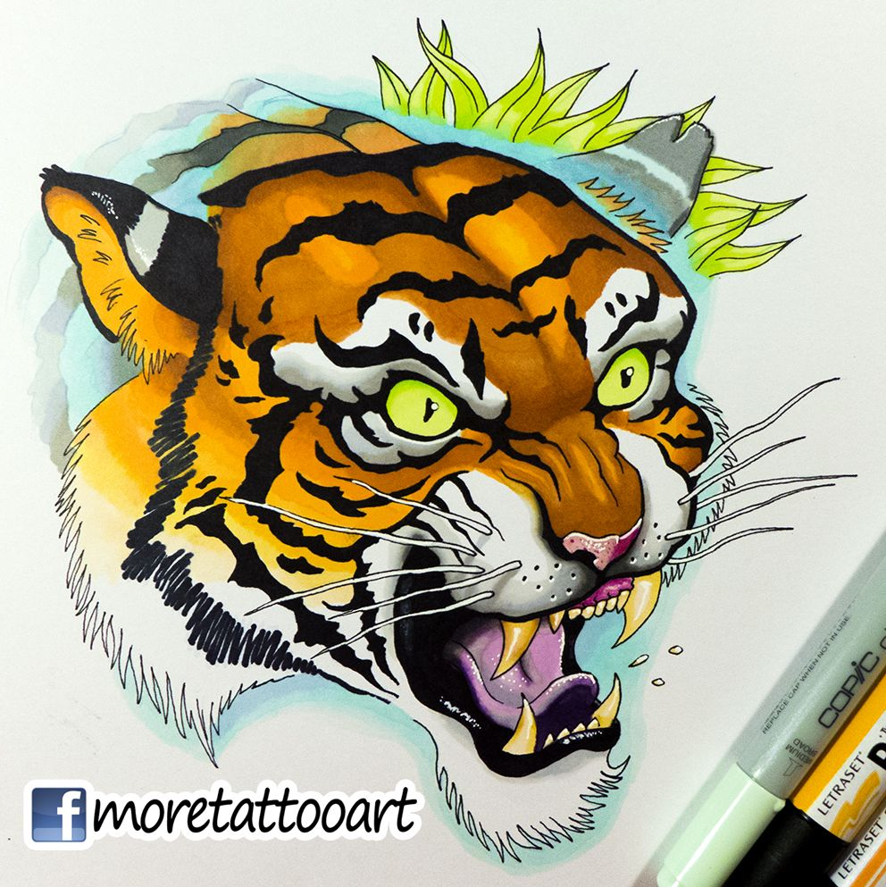 tattoo design new school tiger copic markers dise os e ilustraciones pinterest tattoo. Black Bedroom Furniture Sets. Home Design Ideas