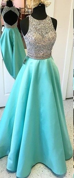 Teal Cap Sleeves Long Charming A-line Prom Dresses,Beading Open Back ...