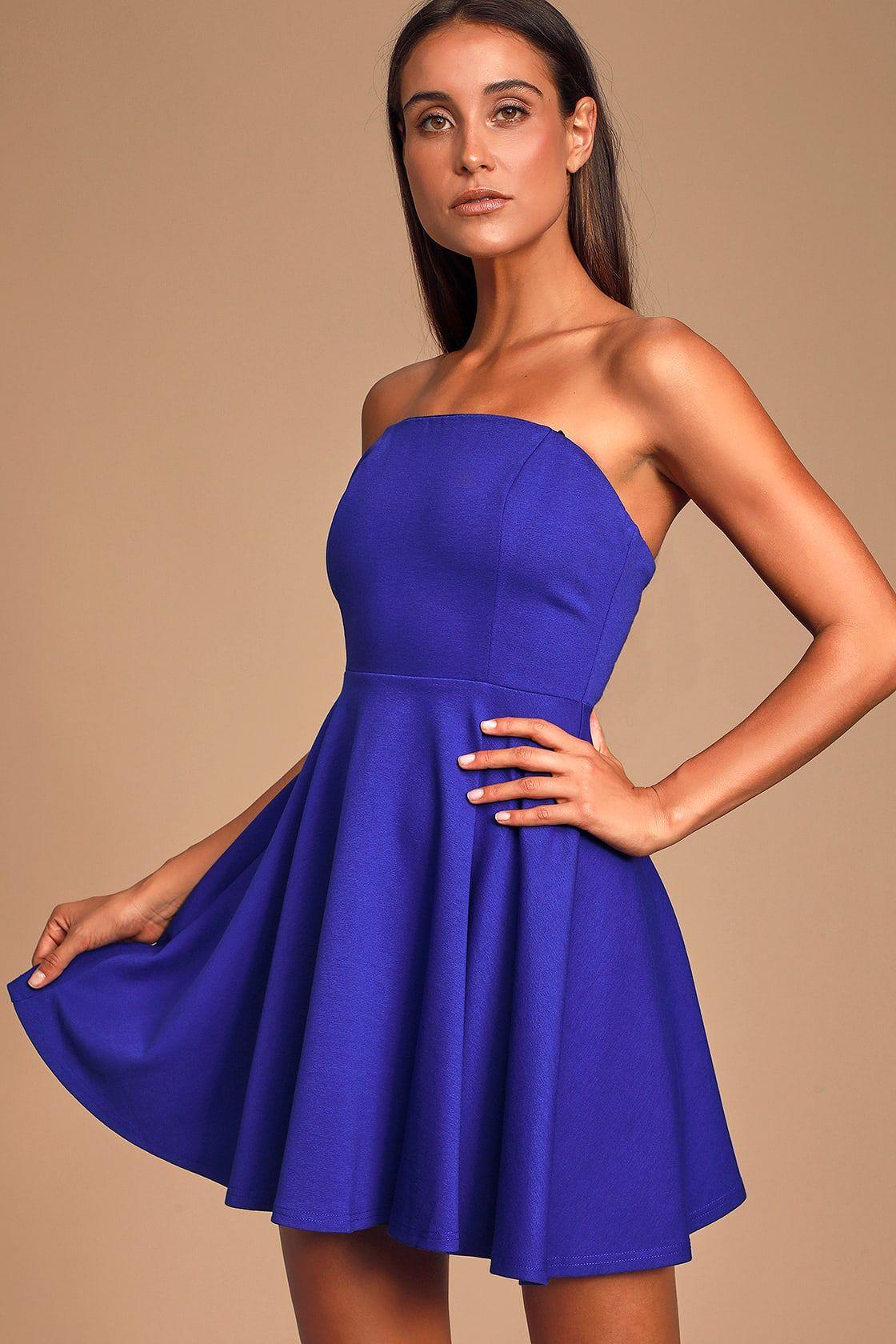 About A Twirl Royal Blue Strapless Skater Dress White Lace Skater Dress Dresses Women Dress Online [ 1680 x 1120 Pixel ]