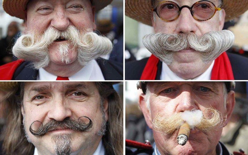 Some of the participants who took part in the 2012 Best Moustache of Brussels competition