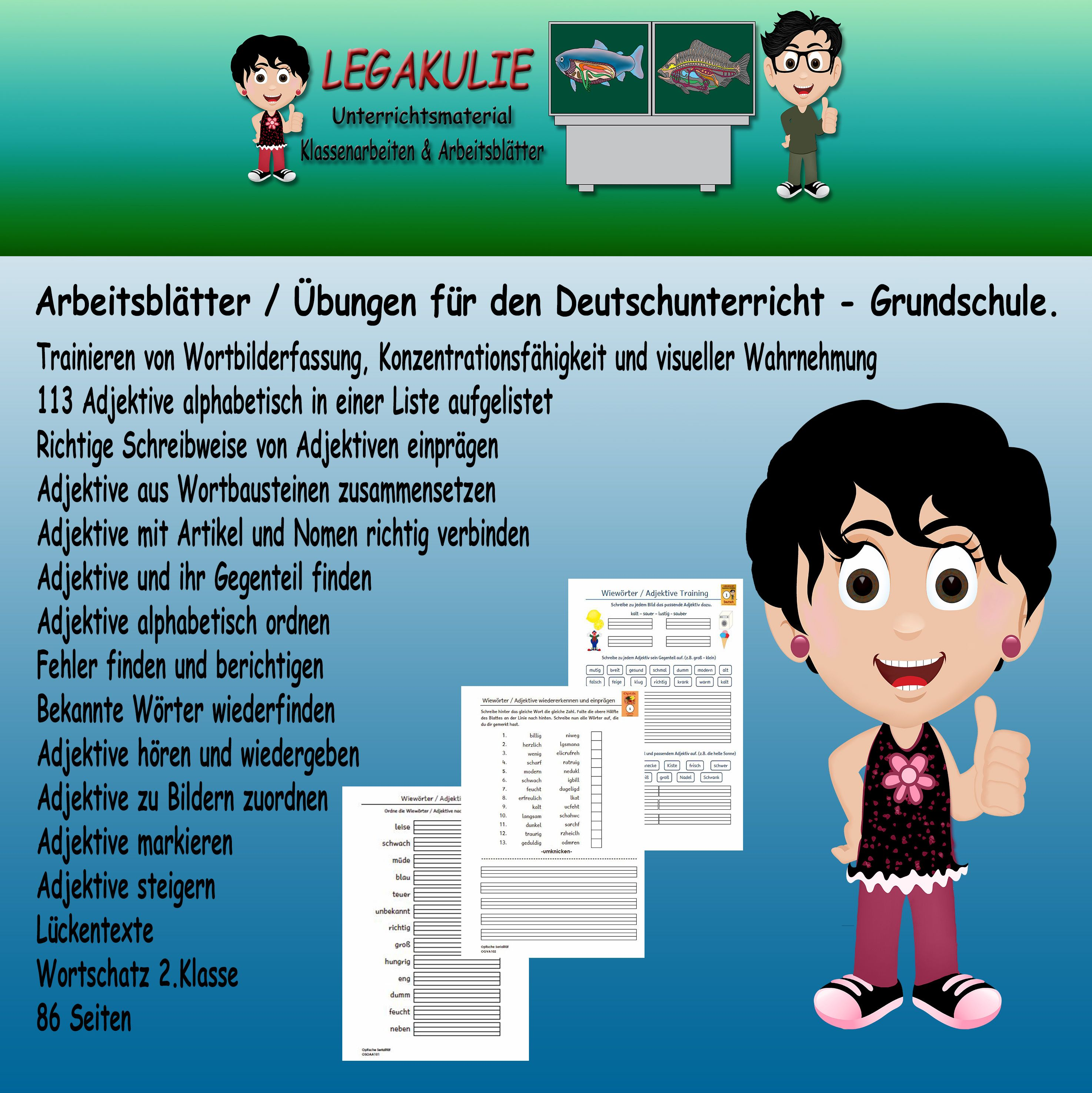Wiewörter - Adjektive 2.Klasse | Deutsch unterricht