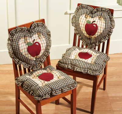 Country Plaid Check Apple Kitchen Chair Cushions | Apple Kitchen