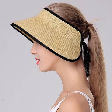 b2687c47e5ac55 Wide brim straw visor hat for women UV summer clip on sun visor hats ...