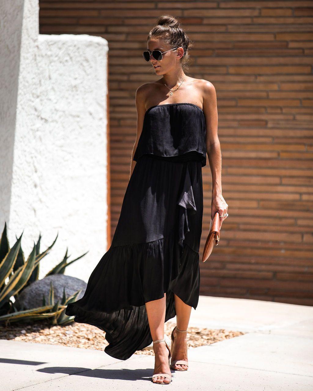 Have A Ball Strapless Ruffle Maxi Dress Black Black Maxi Dress Printed Wrap Dresses Maxi Dress [ 1279 x 1024 Pixel ]