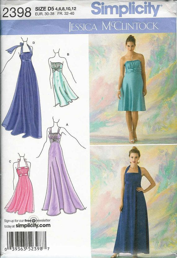 SIMPLICITY 2398 Sewing Pattern.. Party Dress, FORMAL, Bridesmaids or ...
