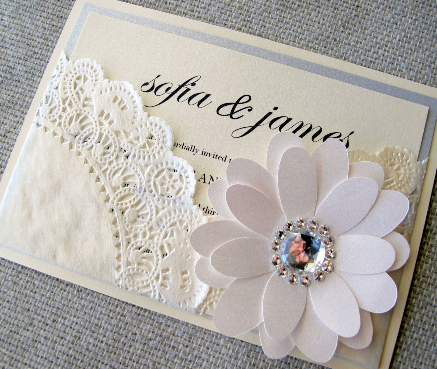 Lace Doily Chic Pocket Wedding Invitation by BellaPapel on Etsy ...