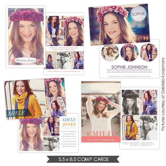 INSTANT DOWNLOAD Modeling Comp Cards Photoshop Templates Fresh - Card template free: free comp card template