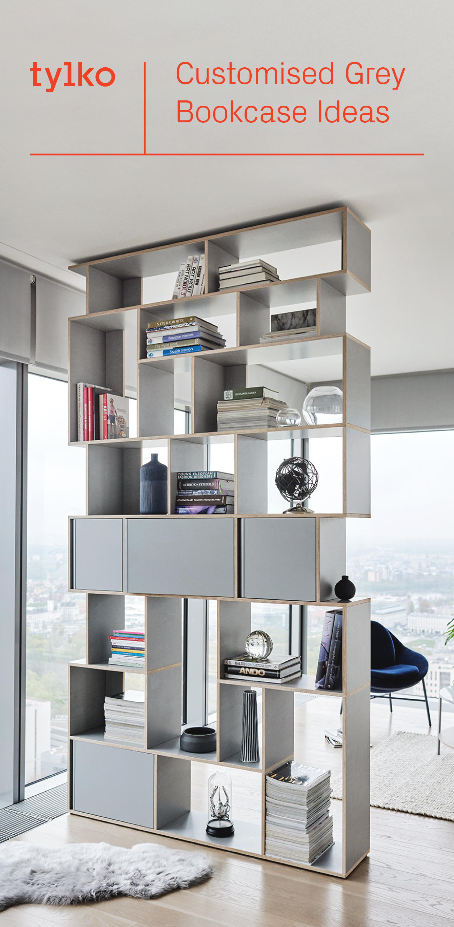 The Custom Gray Bookshelf From Tylko With Its Unique Scandinavian Styling Discover M Furniture Design Modern Scandinavian Bookshelves Stickley Furniture Plans