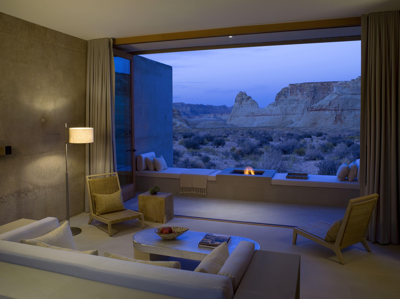 Amangiri Resort Water Utah Bedroom Suite Living Room To Open Balcony Fire