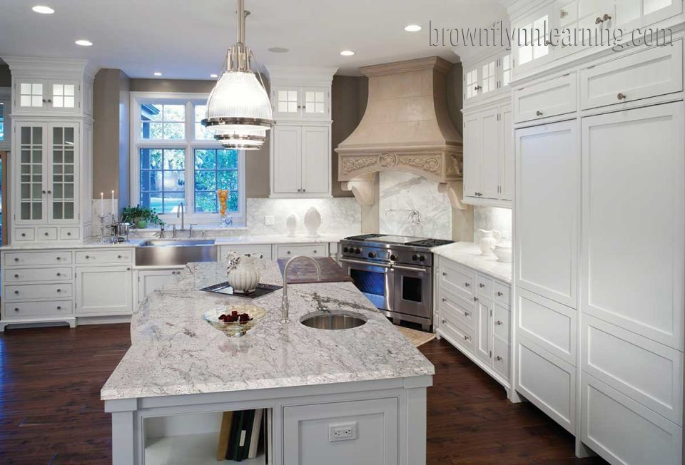 White Travertine Tile Kitchen