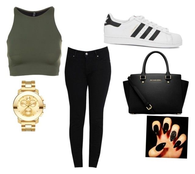 """cash"" by jenkinstaylor1234 on Polyvore featuring Onzie, Levi's, adidas Originals, MICHAEL Michael Kors and Movado"