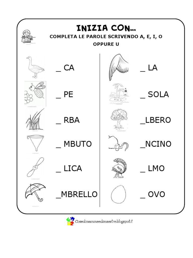 Alcuni esercizi di verifica per valutare il riconoscimento for Parole capricciose esercizi