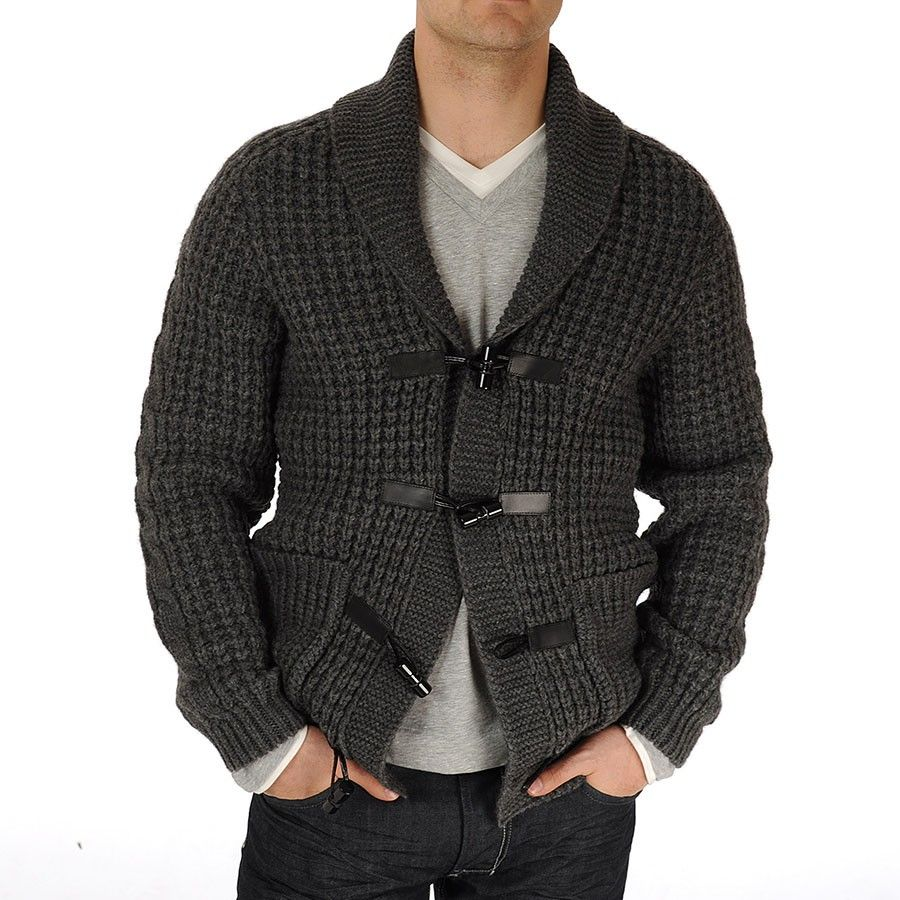 HUGO BOSS Black Pandean Chunky Knit Toggle Buttons Cardigan In ...