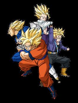 Goku Teen Gohan Future Trunks Vegeta Render By Maxiuchiha22 Z
