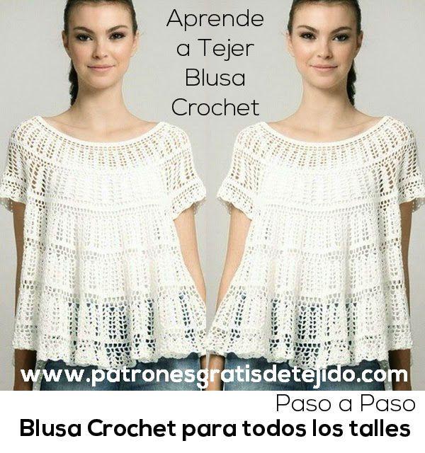 Crochet y Dos agujas: Blusa Crochet para todos los Talles / Aprende ...