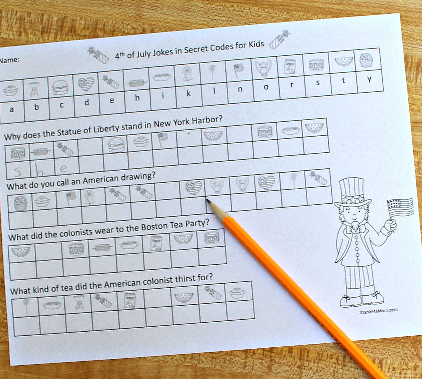 4th Of July Jokes In Secret Codes For Kids Featuring Uncle