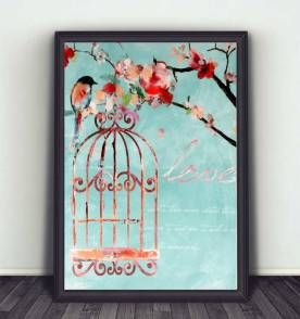poster love bird color 30x40cm